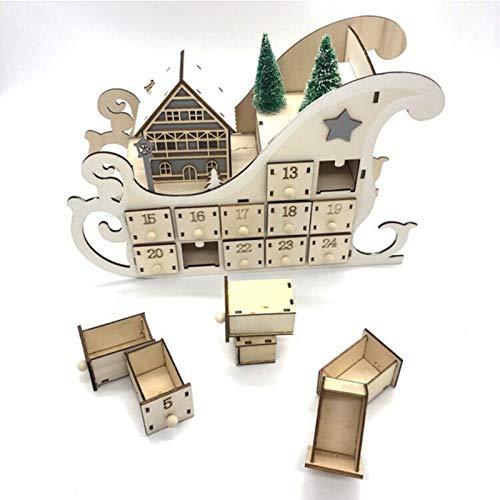 Calendrier de l'Avent de Noël, calendrier de Noël à faire soi-même, calendrier de Noël en bois, calendrier de compte à rebours de 24 jours avec éclairage LED