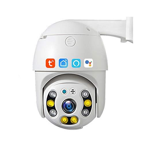Tuya Smart Life Cámara WIFI PTZ, cámara IP de seguridad de seguimiento automático a prueba de agua de 3MP, visión nocturna, almacenamiento en la nube, funciona con Alexa, Google Home,Camera + 32g card