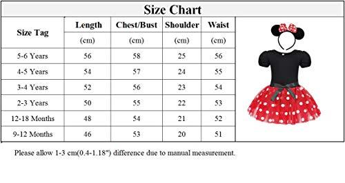 Jurebecia Disfraz de Niñas Recién Nacida Tutú Vestido Cumpleaños Trajes Mameluco + Falda y Mini Mouse Ears Diadema Vestido de la Boda de Tul Regalo Rojo