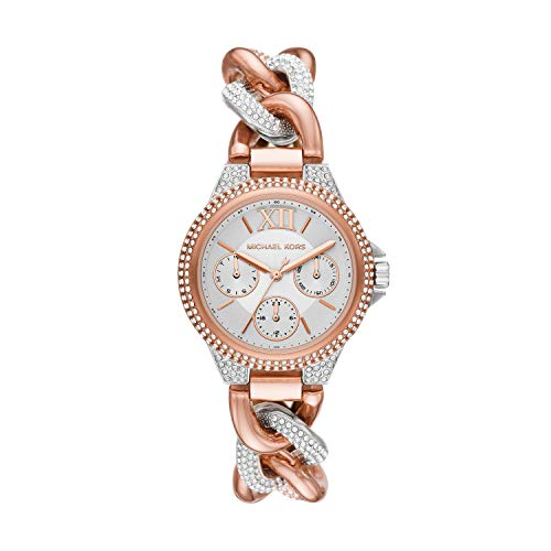 Michael Kors Women's Camille Quartz Watch with Stainless Steel Strap, Pink, 9 (Model: MK6843)