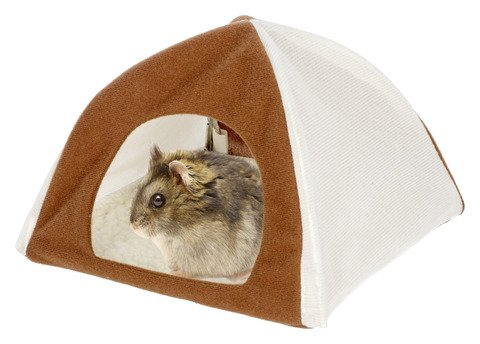 """Kerbl Hamsterzelt """"Tipi"""", Zelt für Hamster, 18 x 18 x 15 cm in braun/weiß"""