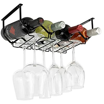 Wallniture Piccola Under Cabinet Wine Rack and Wine Glass Holder Bottle Organizer and Stemware Storage Metal