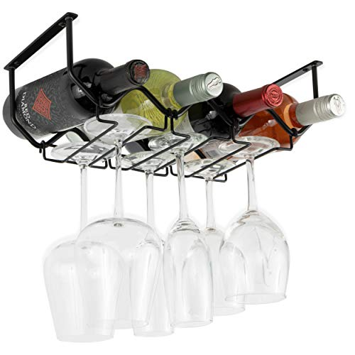 Wallniture Piccola Under Cabinet Wine Rack and Wine Glass Holder Bottle Organizer and Stemware Storage Metal Black