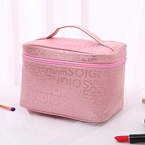Kosmetiktasche Kosmetiktasche Große Kapazität Große Koffer Aufbewahrungsbox 23.5 * 7 * 19.5cm Pink + Buchstabe