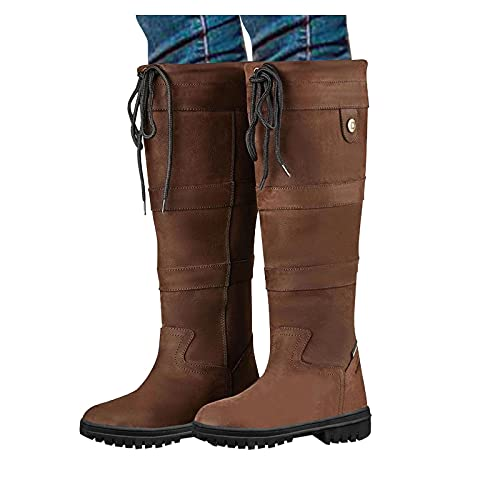 Cenglings Boots - Women's Wide Width Knee High Boots Round Toe Lace Up Wide Calf Winter Boots Plus Size Combat Shoes Brown