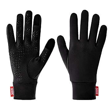 Aegend Running Gloves Women Men Touch Screen Cycling Sports Mittens Liners Warm Gloves Black Medium