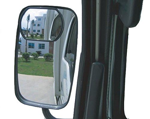 meioro 360 ° Girar El Espejo Del Punto Ciego Del Camión, Vidrio HD Ajustable Espejo Convexo Gran Angular Espejo Retrovisor Lateral Para Cualquier Camión y Autobús Stick Fit (Paquete de 2pcs)