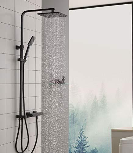 CECIPA Duschsystem ohne Thermostat Duschset Regendusche aus 304 Edelstahl mit Verstellbar Duschstange, Duschkopf 23 * 23CM mit Handbrause, Schwarz, Rhea X304B