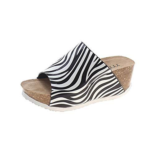 Xmiral Keilsandale Damen Posh Sandals Platform Keilabsatz Heel Schnellverschluss Sandalen Pantoffeln(43,Weiß)