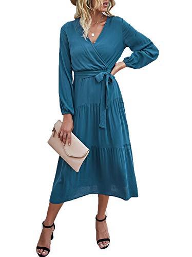 PRETTYGARDEN Women's V Neck Wrap Long Sleeve Vintage Tiered Split Fall Belted Flowy Midi Long Dress Blue