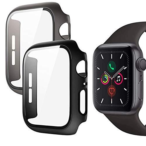 Funda para Apple Watch Series 6/SE/Serie 5/Serie 4, con protector de pantalla de cristal templado, 360°, carcasa rígida ultrafina de policarbonato para iWatch de 44 mm (2 unidades, negro + gris)