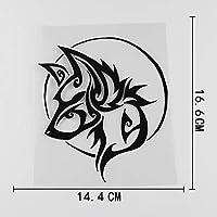 カーステッカー 14.4cmx16.6cmのスタイリッシュな部族のオオカミの頭柄がアップリケのビニール車のステッカー カーステッカー (Color Name : Black)