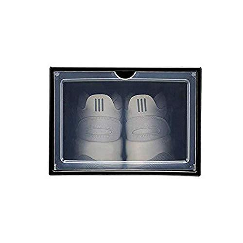 BLMDX Cajas de Zapatos Plegables Armario de Zapatos Organizador de Almacenamiento Fuerte Organizador Cajas de plástico a Prueba de Polvo Fácil de Abrir Perchero para Ropa fácil de Limpiar/Negro