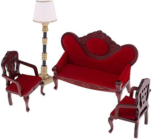 DIVISTAR Muebles miniatura de casa de muñecas 1:12, juego de lámpara de piso de silla de sofá rojo vino, decoración de dormitorio de la muñeca, juguete de juegos de simulación
