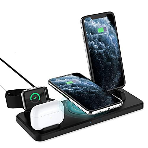 DOOK Cargador Inalámbrico, 4 en 1 Estación de Carga Inalámbrica para Apple Watch 6/SE/5/4/3/2, Airpods 2/Pro, iPhone 12/12 Pro/12 Pro Max/11/11 Pro/X/XR/XS/8 P/8, Galaxy S20