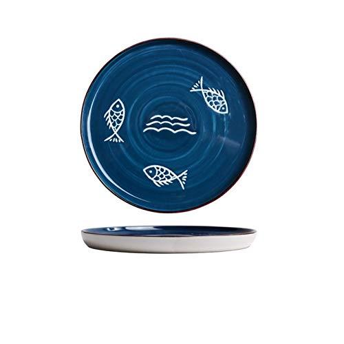 Hzdmfgs Assiette de Diner 7,8 Pouces Plats de dîner Japonais Ronde Servir Plaque Pâtes Assiette Steak dîner Four à Micro-céramique Ustensiles de Cuisine Cuisine (Color : Fish)