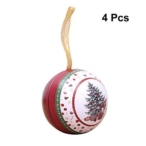 Healifty 4 cajas de regalo de Navidad con temática de Navidad, caja de caramelos en forma de bola pequeña caja de regalo para colgar decoraciones (patrón aleatorio)
