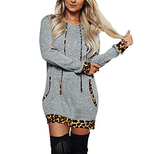 URIBAKY Kapuzenpullover für Frauen Damen Schöne Sweatshirt Lang,Hoodie CasualLangarm-Kleid mit Kapuze mit Leopardenmuster mit Tasche Minikleid