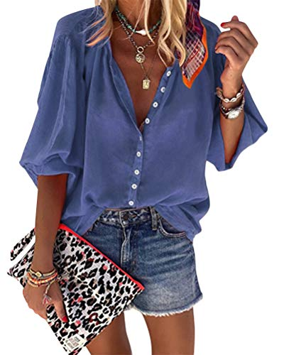 Onsoyours Copricostume Mare Donna Copribikini Costume da Bagno Camicia Bluse Lunga Cover Up Spiaggia Camicetta Cardigan Estivo A Blu Scuro M