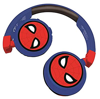 LEXIBOOK HPBT010SP Spiderman 2-in-1 Bluetooth Headphones Stereo Wireless Wired, Kids Safe for Boys Girls, Foldable, Adjustable, red/Blue by Lexibook