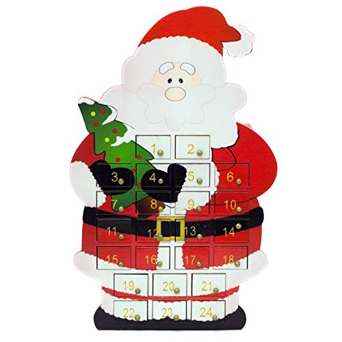 Carousel Home and Gifts Countdown To Christmas Wooden Santa Claus Advent Calendar With Drawers - Reusable Advent Calendar - Freestanding Father Christmas Decoration