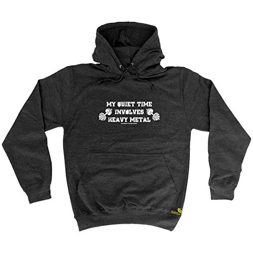 Sex Weights And Protein Shakes S.W.P.S. - Gym Bodybuilding Sports Hoodie My Quiet Time Involves Heavy Metal Hoody Jumper Gifts Funny Hoodies for Guys Male Wear Workout T Charcoal