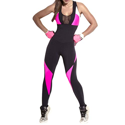 Inlefen Yoga Mono De Las Mujeres Color de Empalme Slim Fit Aptitud Ropa de Deporte
