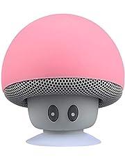 JKoYu Portable Bluetooth Speaker Portable Mini Cute Mushroom Waterproof Sucker Bluetooth Speaker Bass Sound Box - Pink