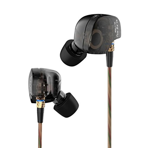 KZ ATE KZ-ATE Dynamic Balanced Armature IEMS In Ear HIFI Monitors DJ Studio Stereo Music Earphones Headphone Earbuds For Mobile Phone iPhone Samsung MP3 MP4 Music Player (Black)