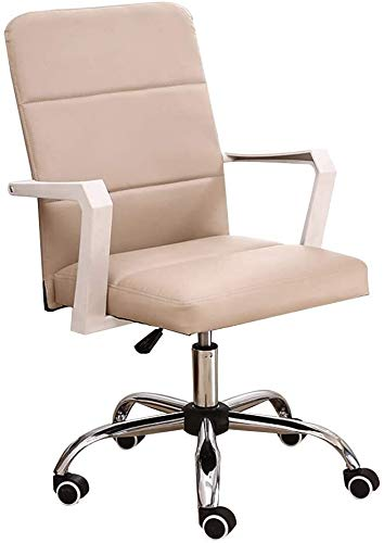 WYL High Back PU Leather Gaming Desk Chair Adjustable Height Ergonomic Swivel Computer Desk Chair for Meeting Room Study Bearing Capacity: 330 Pounds (Color : Khaki)