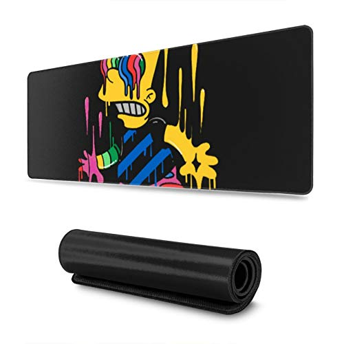 Extra Large Mouse Pad Trippy Bart Simpsons Desk Mousepad - 15.8x29.5in (3mm Thick)- XL Protective Keyboard Desk Mouse Mat for Computer/Laptop
