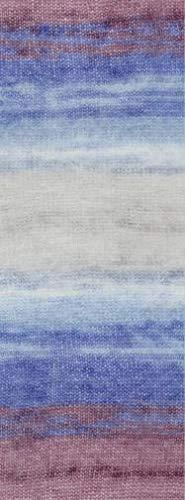 Lana Grossa Silkhair Print 372 - Erika/Brombeer/Kornblume/Hellblau/Hellgrau