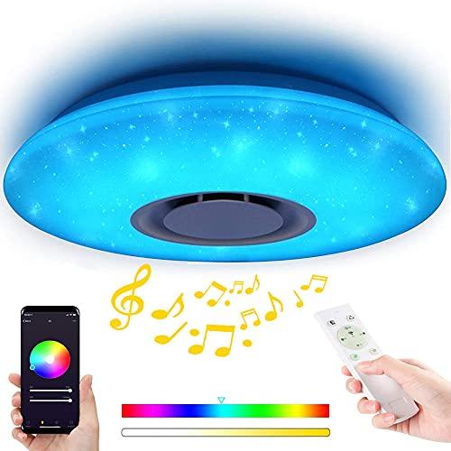 Runaup Dimmerabile LED Plafoniera Starlight con Telecomando e App, 60W Multi Colore Lampada da Soffitto Musicale con Altoparlanti Bluetooth per Camera da Letto/Soggiorno/Stanza dei Bambini/Ufficio