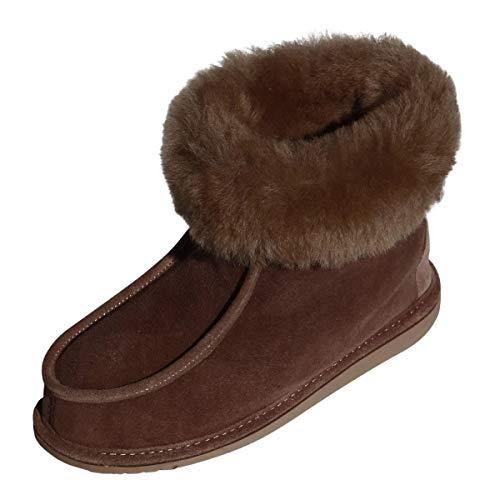 Damen & Herren Lammfell Hausschuhe Adam Fellschuhe aus Merino Schaffell Echtleder sehr warm und atmungsaktiv Schuhgröße 40, Farbe Braun
