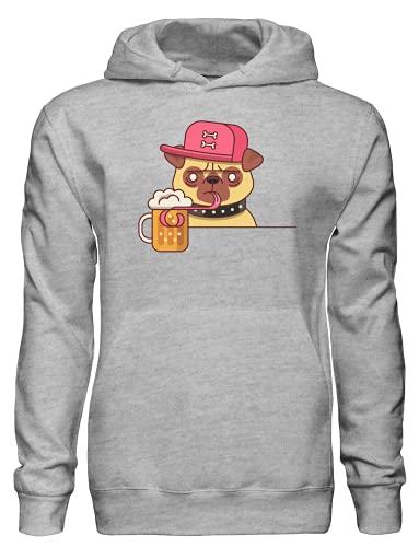 Cool Pug Beber Cerveza Jersey Sudadera con capucha bnft, gris, XXL