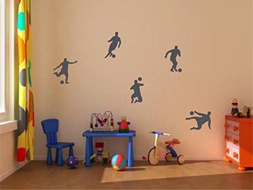 Stickerkoenig Kinderzimmer Wandtattoo XXL Fußballer & Fußbälle 5er Set Soccer Größe 2 FARBE: Dunkelgrau