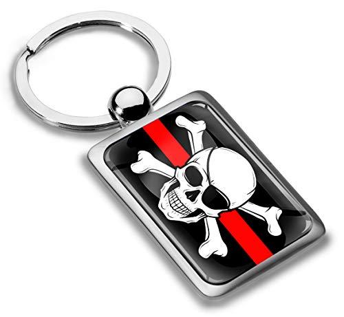 3D Metal Pirates Jolly Roger Skull Crossbones Bones Pirate Flag Keyring Key Chain Gift Men Women Keychain Giftbox KK 246