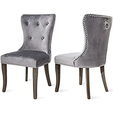 Harper & Bright Designs Victorian Dining Chair Button Tufted Armless Chair Upholstered Accent Chair, Nailhead Trim, Chair Ring Pull Set of 2 (Grey)