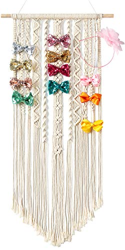 Mkono Macrame Hair Bow Holder Hanging Hair Clips Hanger Headband Storage Organizer Boho Wall Decor Bow Organizer for Baby Girls Room, Ivory (Clips and Other Props Not Included)
