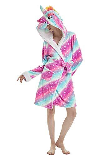 Einhorn Schlafanzug Damen Winter Pyjama Bademantel Flanell Tiere Ankleiden, Einhorn - 1, M: (Passend für Höhe 150-165 cm)