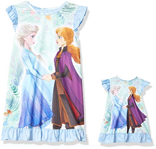 Disney Girls' Nightgown with Matching Doll Gown, Frozen Together Forever, 4