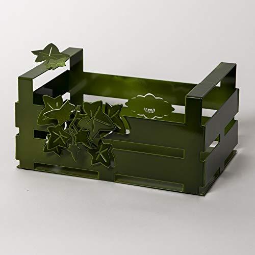 ARTI E MESTIERI - Centro de Mesa para Pan/Fruta en Forma de Caja de Hierro Mod. Edera Verde Design