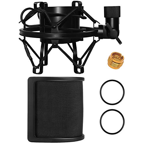 Microphone Shock Mount with Pop Filter for Diameter 1.81-2.08inch(46mm-53mm) Microphone