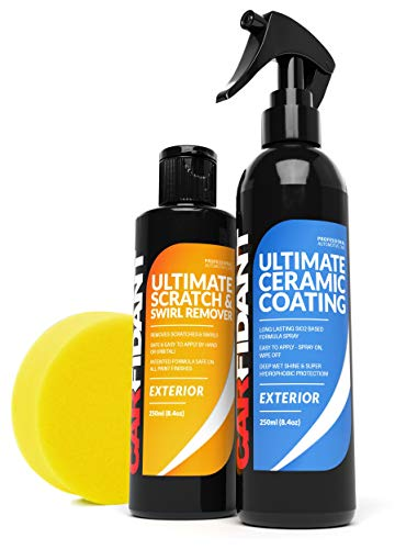 Carfidant Scratch & Swirl Remover + Ceramic Coating Spray - Polish & Paint Restorer, Repair Scratches & Seal Paint with Ceramic Car Wax Spray
