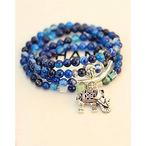 YCWDCS Armband Natürlicher Kristall Blau Exquisite Elefant Anhänger Multi Thai Amulette Naturstein Kugel Perlen Armband Für Frauen