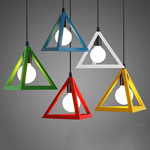 Ting-w Set of Moden Colorful Metal Triangle Pendant Light Chandelier Ceiling lamp Dining Light (Multi-Colored)