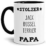 Hunde-Tasse Stolzer Jack Russel Terrier Papa Geschenkidee für das Herrchen/Mug/Cup/Becher/Innen & Henkel Schwarz