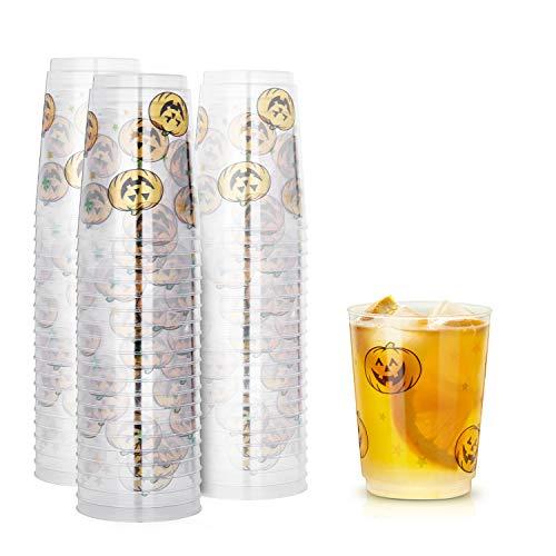 TOROTON 50 Copas de Plástico, 300ml Reutilizables Transparente Copa para Bebida, para Cumpleaños Fiestas Navidad Halloween - Estampado de Calabaza