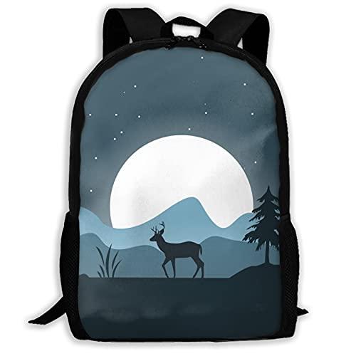 Deer Forest - Mochila de arte al aire libre para viajes, portátil, capacidad de libros, ligera, bolsa de papelería para niñas, niños, universidad, escuela, mujeres, hombres, oficina