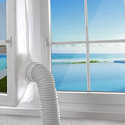 AGPTEK 300CM Window Seal for Portable Air Conditioner and Tumble Dryer, Air Exchange Guards With Zip & Hook Tape, Works with Every Mobile Air-Conditioning Unit